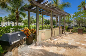 Poolside picnic and grill area | Bay Harbor