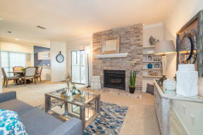 Living room with fireplace | High Oaks