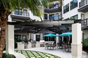 Outdoor patio with grills  | District at Rosemary