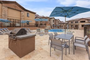 Poolside patio with grills | Canyons at Linda Vista Trail