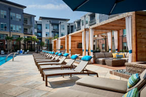 Poolside lounge chairs and cabanas   Inspire Southpark