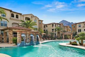 Pool with water feature   Villas at San Dorado