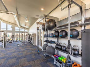 free weights and medicine balls in fitness center
