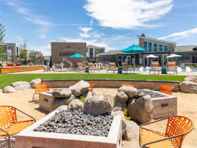 outdoor firepit with seating | Lumina outdoor amenities
