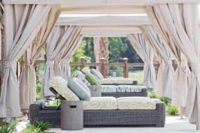 Poolside cabanas and lounge chairs | Wharf 7