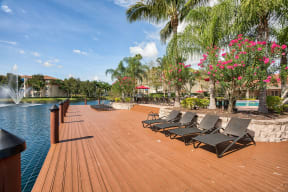 Sundeck with lounge chairs | Yacht Club