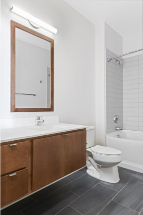 Modern Bathrooms With Tubs At Revel Apartments In Minneapolis, MN