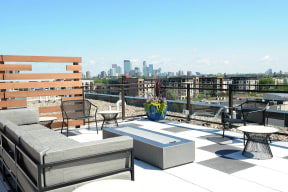 Fire Pit On Rooftop At Revel Apartments In Minneapolis, MN