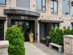 Front Entrance At Boutique 28 Apartments In Minneapolis, MN