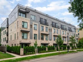 Exterior Building View At Boutique 28 Apartments In Minneapolis, MN