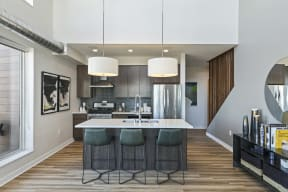 Kitchen Island In Penthouse At Revel Apartments In Minneapolis, MN