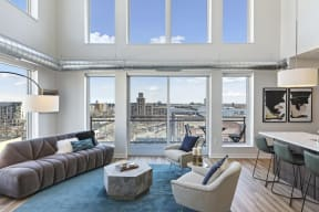 Wall Of Windows In Penthouse Living Room At Revel Apartments In Minneapolis, MN