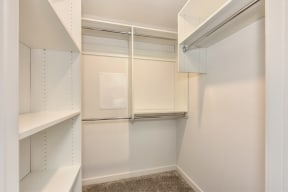 Large extended closest with built in shelves.