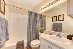 Bathroom with tub/shower enclosure, Toilet and shower curtain.
