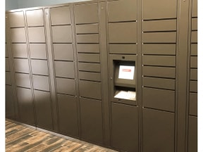 24 Hour Package Lockers at Stoneleigh on Cartwright Apartments, J Street Property Services, Mesquite