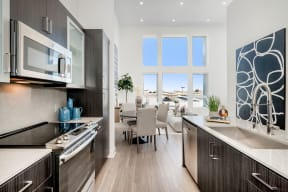 Modern Kitchen With Custom Cabinet at The Q Variel, Woodland Hills,California