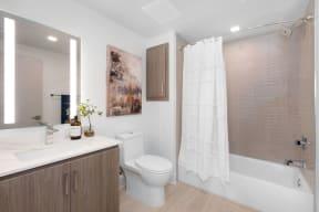 Bathroom With Bathtub at The Q Variel, Woodland Hills, CA, 91367