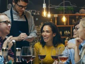 People enjoying a restaurant