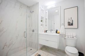 Lincoln Common Studio Bathroom with Frameless Glass Walk-In Shower