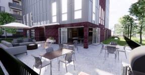Outdoor seating area at 310 @ Nulu Apartments, 310 S. Hancock Street, Kentucky
