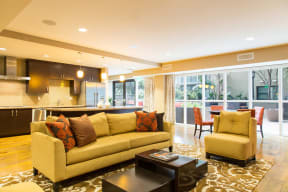Apartments for Rent in Irvine - Astoria at Central Park West Lobby Sofa, Coffee Table and Open Kitchen Area