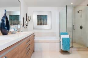 Designer Granite Countertops in all Bathrooms at Astoria at Central Park West Apartments, Irvine, CA,92612