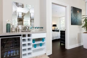 Apartments in Irvine, CA - Astoria at Central Park West Personal Wine Cooler and Beverage Counter With Chic Decor