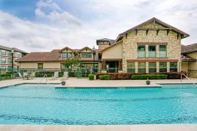Portofino Senior Apartments Pool Area and Building Exterior