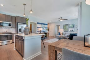 Living Room With Kitchen View at Alta Croft, Charlotte, NC, 28269