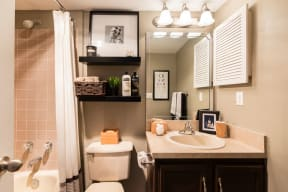 Bathroom with dark brown cabinets, white toilet, white sink and silver fixtures.