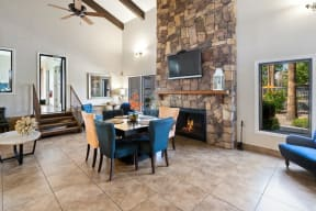 Clubhouse lobby and fireplace