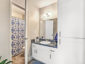 Model bathroom with separate toilet and shower