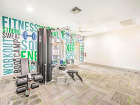 Resident fitness center with weightlifting equipment