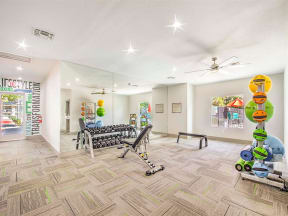 Resident fitness center with equipment