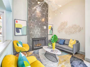 Community lounger area with fireplace