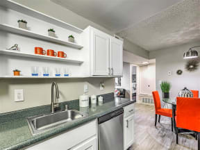 Model kitchen with stainless dishwasher