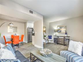 Model living and dining areas