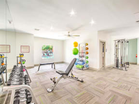 Resident fitness center with weights