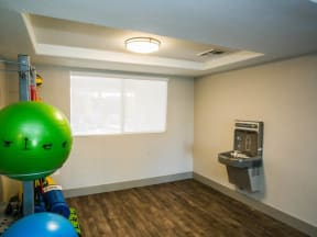 Fitness center with water bottle refilling station
