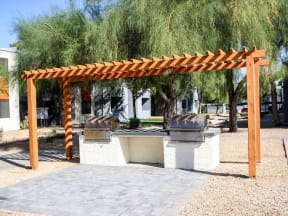 Community BBQ grill and picnic area