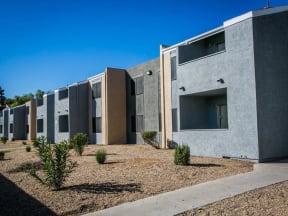 Apartment exterior with zero scaping