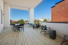 Rooftop deck with loungers