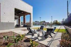 Outdoor lounge near pool