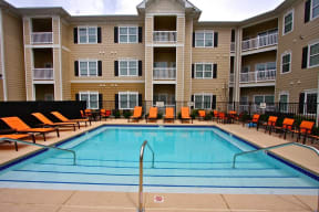 Pool view at Aventura at Forest Park, Missouri