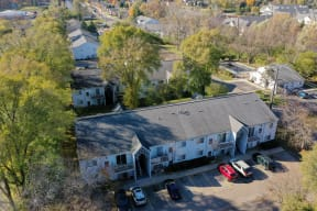 Ariel image of Greyberry Park Apartments.