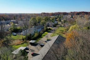 Ariel image of the exterior of Greyberry Park Apartments with carports.