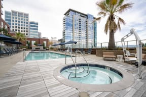 Outdoor pool and jacuzzi with pool lifts