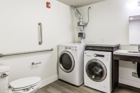 Washer/dryer in bathroom,