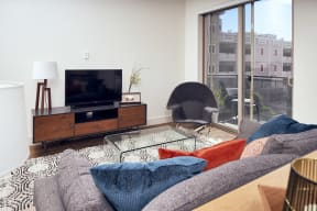 furnished living room with tv