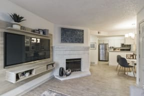 Living Room Remodel With Fireplace at Alvista Trailside Apartments, Englewood, 80110